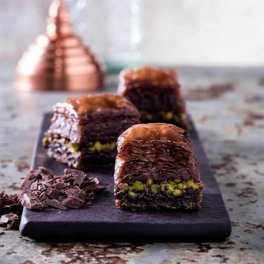 Chocolate Baklava with Pistachio - TurkishTaste.com