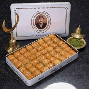 Long Lasting (dry) Baklava with Pistachio in Metal Gift Box 2kg (70.54oz) - TurkishTaste.com