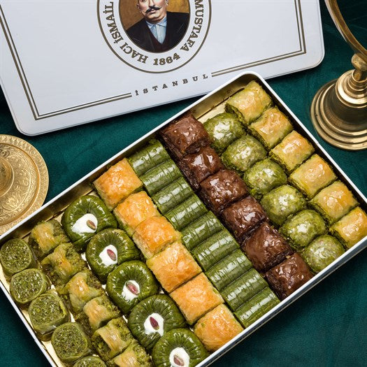 Assorted Baklava in Metal Gift Box 2kg (70.54oz) - TurkishTaste.com