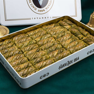 Pistachio Twister Baklava in Metal Gift Box 2000g