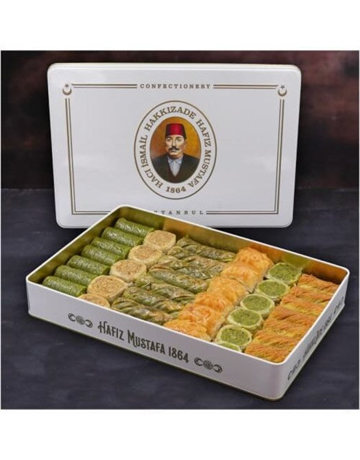 Assorted Pistachio and Walnut Baklava in Metal Gift Box 1.7kg (59.96oz) - TurkishTaste.com