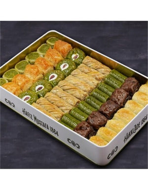 Assorted Pistachio and Walnut Baklava in Metal Gift Box 2kg (70.54oz) - TurkishTaste.com