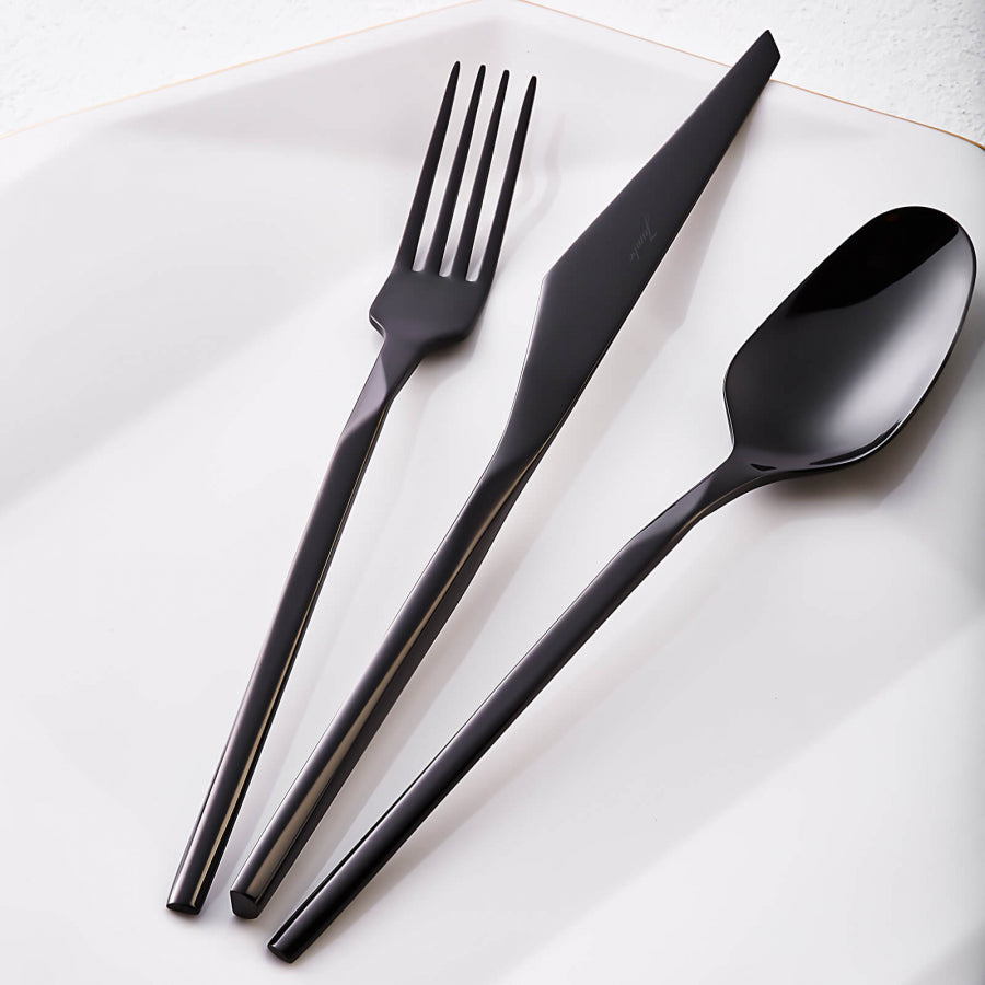 Quartz Titanium Black Stainless Steel 84 Pieces Flatware Set