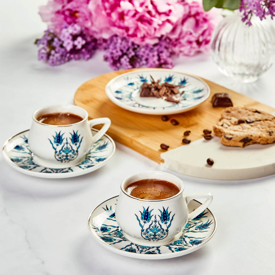 Turkish Coffee Cup Set Iznik Design