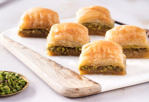 Fresh Baklava with Pistachio on Tray