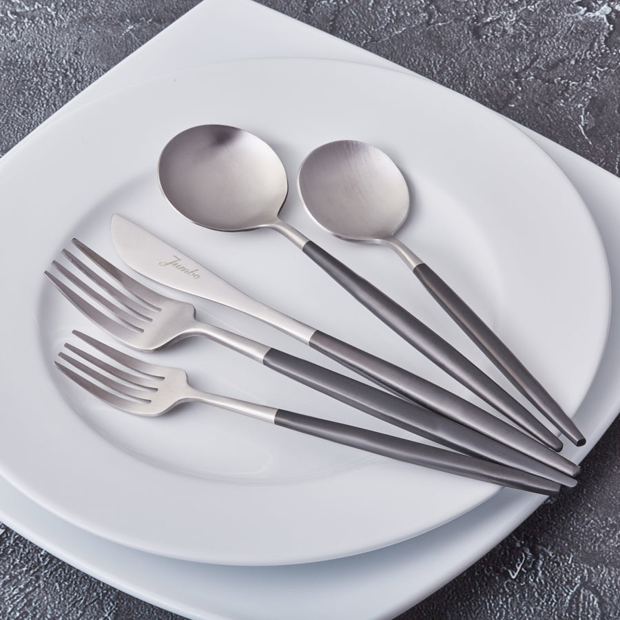 Stainless Steel Mate Steel - Black 30 Pieces Flatware Set