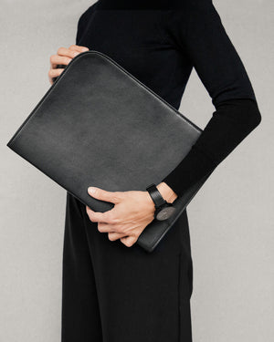 Leather Folio in Black