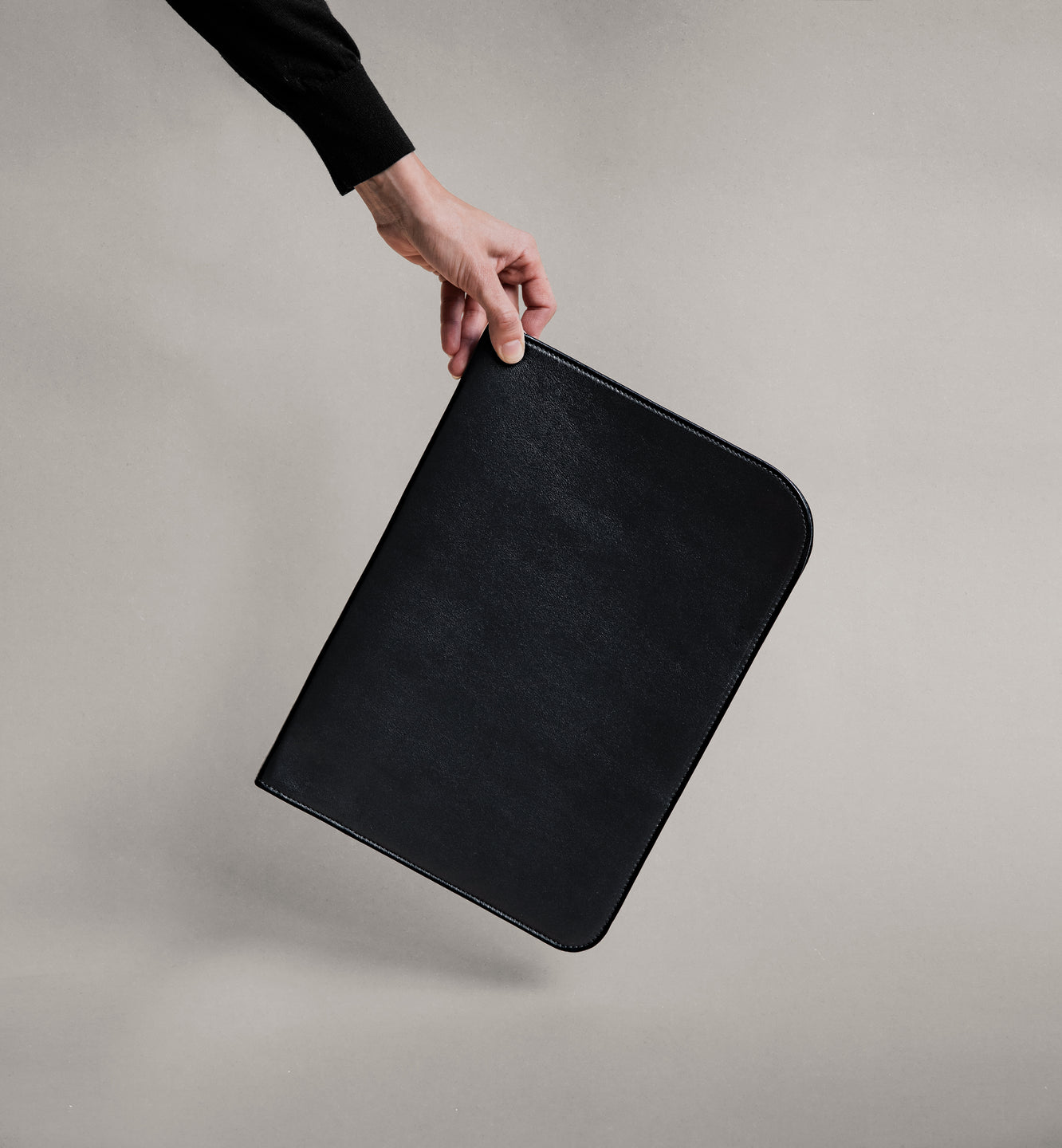 The Leather Folio in Black - The Leather Folio in Black