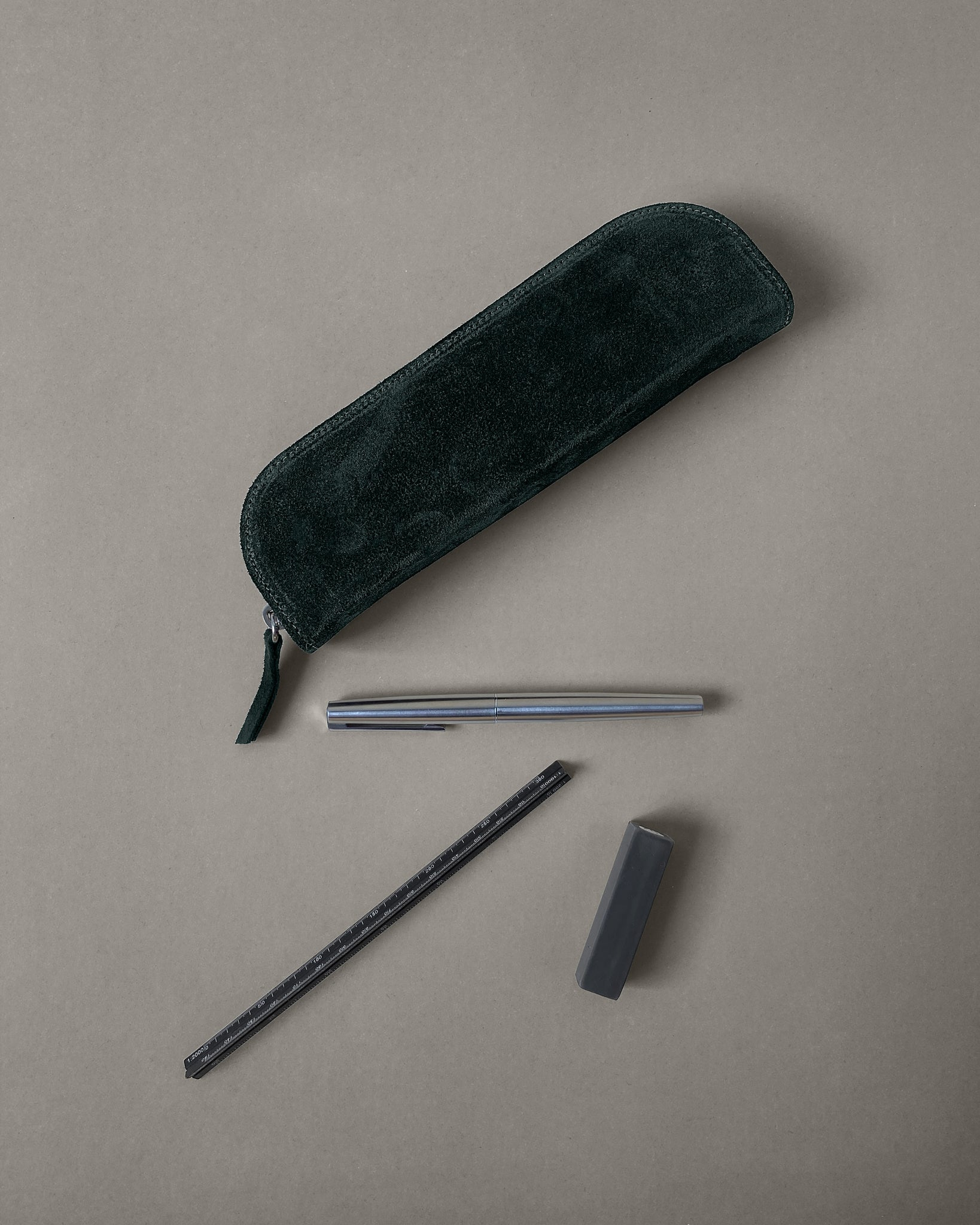 Suede Pencil Case in Green