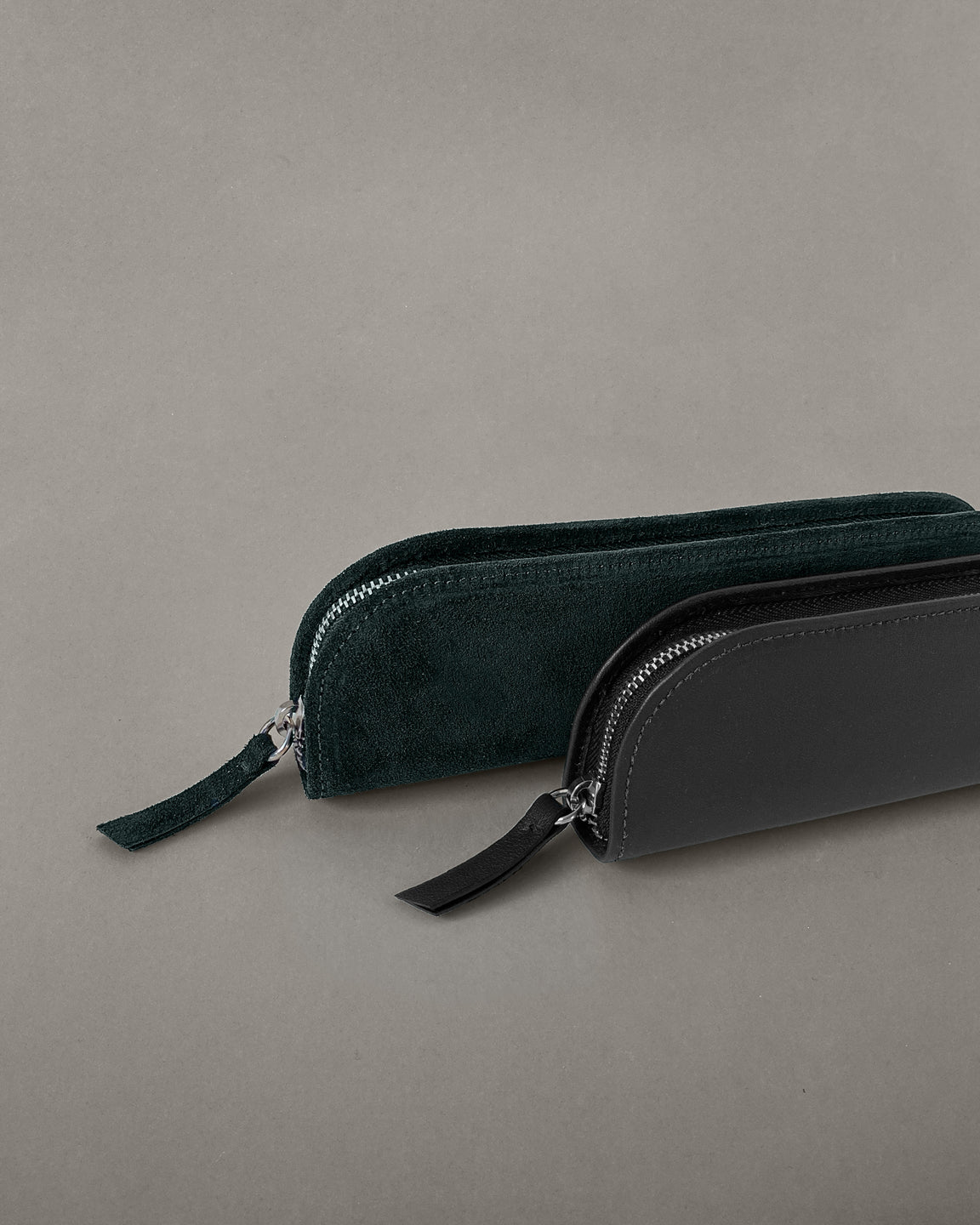 Suede Pencil Case in Green - Suede Pencil Case in Green