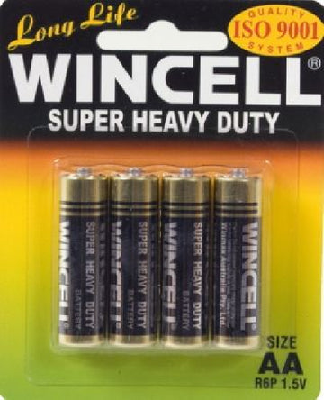 Wincell Super Heavy Duty AA Carded 4Pk Battery - LonBrook - Stationary - purpleboxau