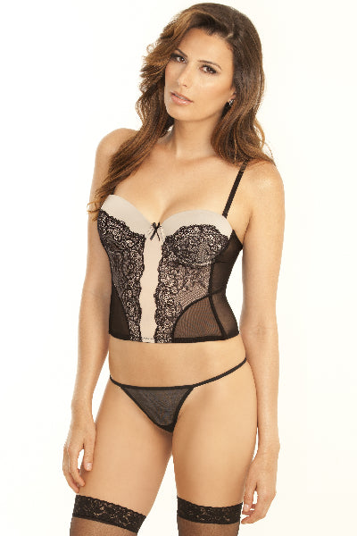 Nude Ambition Midrif Bustier and G-String Set - Rene Rofe - Lingerie - purpleboxau