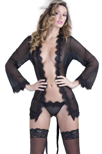 Eyelash Lace Robe & G-String - The Purple Drawer