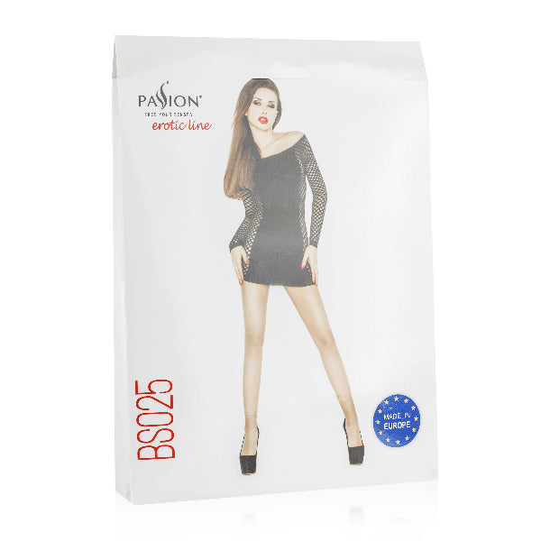 Mini Dress Black With Mesh Sleeves and Sides - Passion - Lingerie - purpleboxau