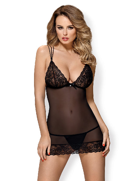 Mesh and Lace Chemise And Thong - The Purple Drawer