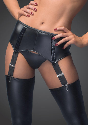 Power Wetlook Garter Belt With Back Lacing - The Purple Drawer