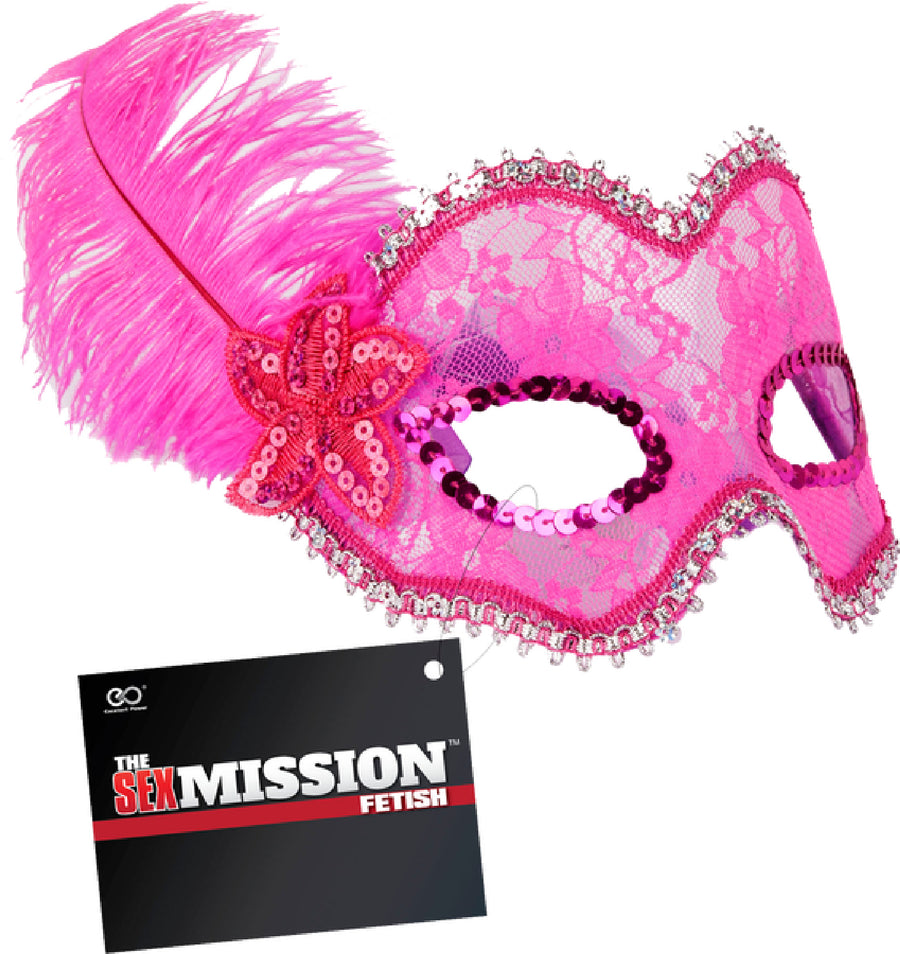 Feathered Masquerade Masks (Pink) - The Purple Drawer