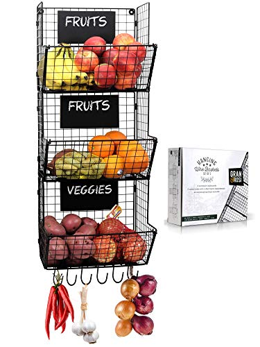 Stylish Kitchen Hanging Fruit And Vegetable Storage Baskets with Chalkboards  Perfect for Your Potatoes and Onions  Amazing Wire Wall Mount System Saves Space while Enhancing your Home