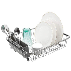 Online shopping blitzlabs dish drying rack stainless steel with utensil holder adjustable handle drying basket storage organizer for kitchen over or in sink on countertop dish drainer grey