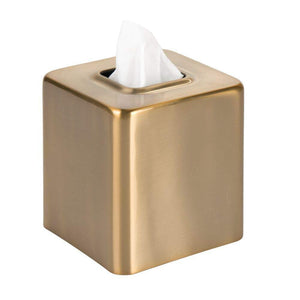 Cheap mdesign modern square metal paper facial tissue box cover holder for bathroom vanity countertops bedroom dressers night stands desks and tables 2 pack soft brass