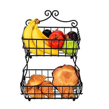 Load image into Gallery viewer, Results linkfu 2 tier fruit bread basket removable screwless metal storage basket rack for snack bread fruit vegetables counter table kitchen and home black