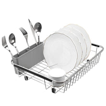 Load image into Gallery viewer, On amazon blitzlabs dish drying rack stainless steel with utensil holder adjustable handle drying basket storage organizer for kitchen over or in sink on countertop dish drainer grey
