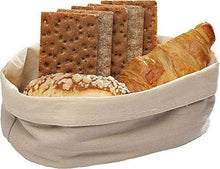 Load image into Gallery viewer, Budget friendly oval metal wire bread box fruit basket for baguette sourdough food pantry basket kitchen storage and counter display restaurant quality metal basket with linen material insert