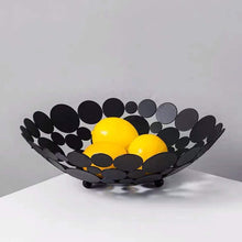 Load image into Gallery viewer, Best seller  littlemu modern creative fruit basket bowl for kitchen counters luxury large metal iron table centerpiece stand for serving fruit snack and home decorative balls black