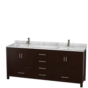 Shop wyndham collection sheffield 80 inch double bathroom vanity in espresso white carrera marble countertop undermount square sinks and 70 inch mirror