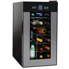 Load image into Gallery viewer, Storage organizer nutrichef pktewcds1802 18 bottle dual zone thermoelectric wine cooler red and white wine chiller countertop wine cellar freestanding refrigerator with lcd display digital touch controls