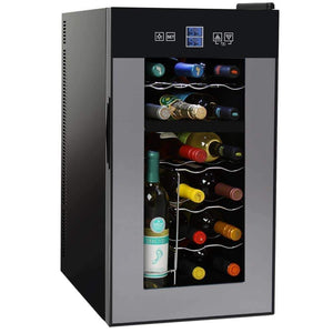 Storage organizer nutrichef pktewcds1802 18 bottle dual zone thermoelectric wine cooler red and white wine chiller countertop wine cellar freestanding refrigerator with lcd display digital touch controls