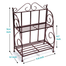 Load image into Gallery viewer, Amazon spice rack ispecle 2 tier foldable shelf rack kitchen bathroom countertop 2 tier standing storage organizer spice jars bottle shelf holder rack classic bronze coating