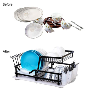Related 2 tier dish rack dish drying rack with utensil holder and drain board wine glass holder easy storage rustproof kitchen counter dish drainer rack organizer iron