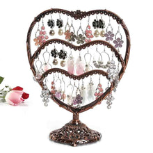 Load image into Gallery viewer, Shop here earring display botitu 11 inch tall jewelry holder with 58 hooks and 3 tiers earring holder for girls and women jewelry tree perfect for dresser nightstand and countertop jewelry display copper