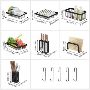 Storage langria dish drying rack over sink stainless steel drainer shelf professional 2 tier utensils holder display stand for kitchen counter organization fully customizable 37 4 inches width black