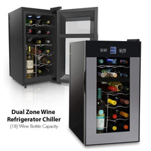 Load image into Gallery viewer, Amazon best nutrichef pktewcds1802 18 bottle dual zone thermoelectric wine cooler red and white wine chiller countertop wine cellar freestanding refrigerator with lcd display digital touch controls