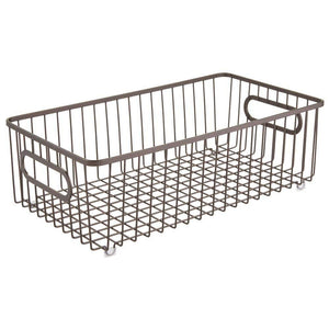 Cheap mdesign metal bathroom storage organizer basket bin farmhouse wire grid design for cabinets shelves closets vanity countertops bedrooms under sinks large 4 pack bronze