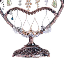Load image into Gallery viewer, Storage organizer earring display botitu 11 inch tall jewelry holder with 58 hooks and 3 tiers earring holder for girls and women jewelry tree perfect for dresser nightstand and countertop jewelry display copper
