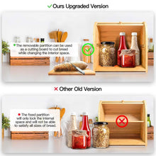 Load image into Gallery viewer, Great bamboo bread box finew 2 layer rolltop bread bin for kitchen large capacity wooden bread storage holder countertop bread keeper with toaster tong 15 x 9 8 x 14 5 self assembly