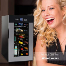 Load image into Gallery viewer, Top nutrichef pktewcds1802 18 bottle dual zone thermoelectric wine cooler red and white wine chiller countertop wine cellar freestanding refrigerator with lcd display digital touch controls