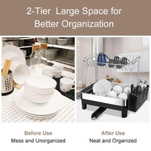 Load image into Gallery viewer, Top rated kedsum rust proof stainless dish rack 2 tier detachable dish drying rack with removable utensil holder dish drainer with 360 degrees adjustable swivel spout for kitchen counter