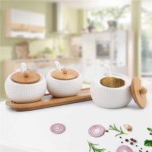 Load image into Gallery viewer, On amazon porcelain condiment jar spice container with lids bamboo cap holder spot ceramic serving spoon wooden tray best pottery cruet pot for your home kitchen counter white 170 ml 5 8 oz set of 3