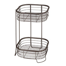 Load image into Gallery viewer, Storage idesign forma metal wire free standing 2 tier shelves vanity caddy baskets for bathroom countertops desks dressers 9 5 x 9 5 x 15 25 bronze