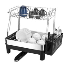 Load image into Gallery viewer, The best kedsum rust proof stainless dish rack 2 tier detachable dish drying rack with removable utensil holder dish drainer with 360 degrees adjustable swivel spout for kitchen counter