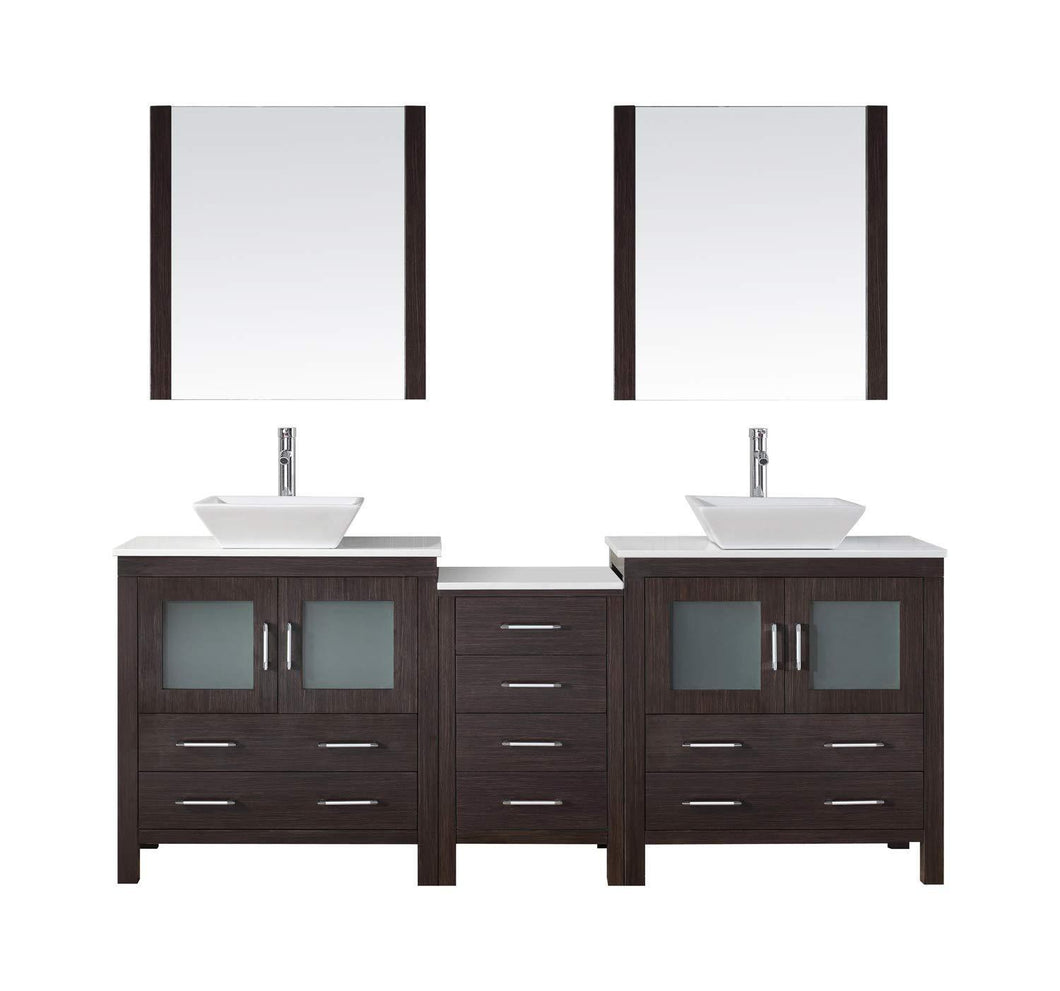 New virtu usa dior 82 inch double sink bathroom vanity set in espresso w square vessel sink white engineered stone countertop single hole polished chrome 2 mirrors kd 70082 s es