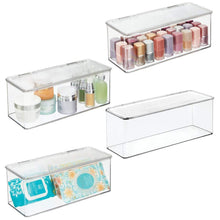 Load image into Gallery viewer, Save mdesign makeup storage organizer box for bathroom vanity countertops drawers holds beauty blenders eyeshadow palettes lipstick lip gloss makeup brushes hinged lid 13 4 long 4 pack clear