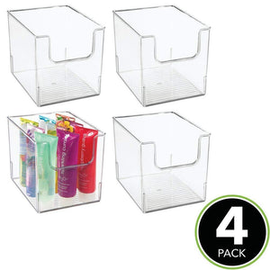Results mdesign plastic open front bathroom storage organizer basket bin for cabinets shelves countertops bedroom kitchen laundry room closet garage 8 wide 4 pack clear