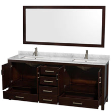 Load image into Gallery viewer, Shop for wyndham collection sheffield 80 inch double bathroom vanity in espresso white carrera marble countertop undermount square sinks and 70 inch mirror