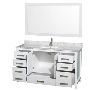 Selection wyndham collection sheffield 60 inch single bathroom vanity in white white carrera marble countertop undermount square sink and 58 inch mirror
