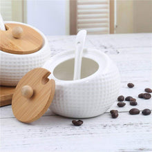 Load image into Gallery viewer, Order now porcelain condiment jar spice container with lids bamboo cap holder spot ceramic serving spoon wooden tray best pottery cruet pot for your home kitchen counter white 170 ml 5 8 oz set of 3